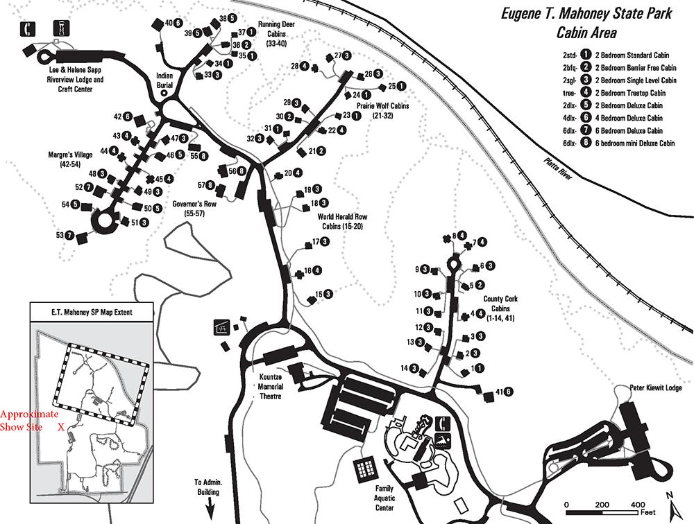 Cabin Area Map - Eugene T. Mahoney State Park