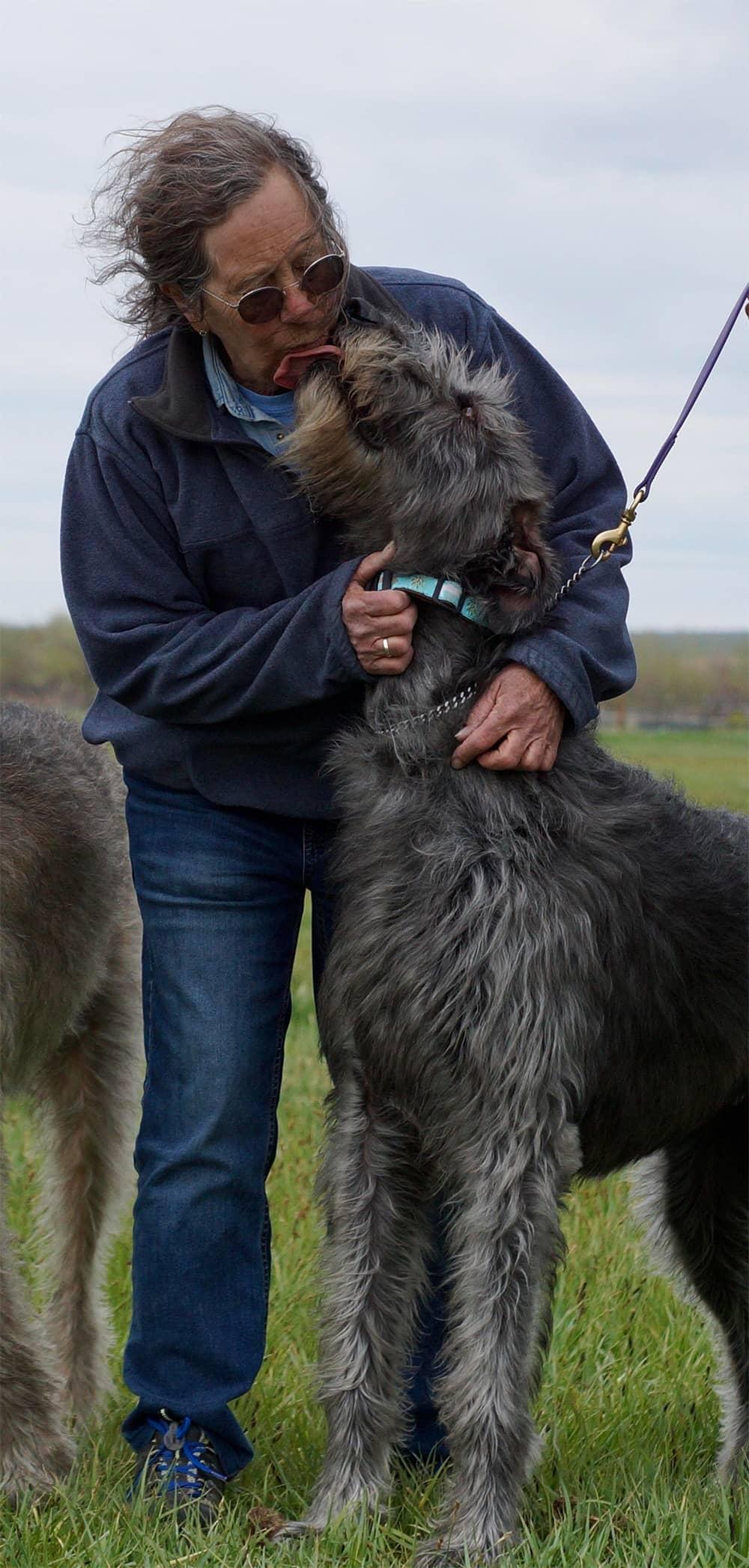Jill Bryson with hound Woopie