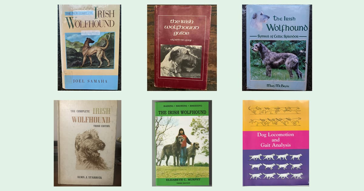 Cover images of some off the books available about Irish Wolfhounds